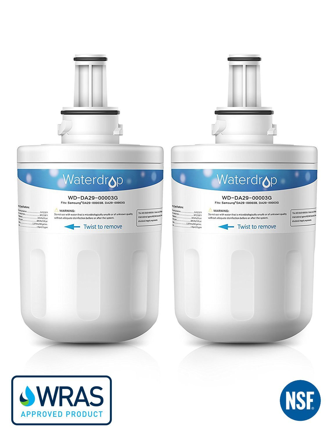 2 pack refrigerator water filter cartridge for Samsung