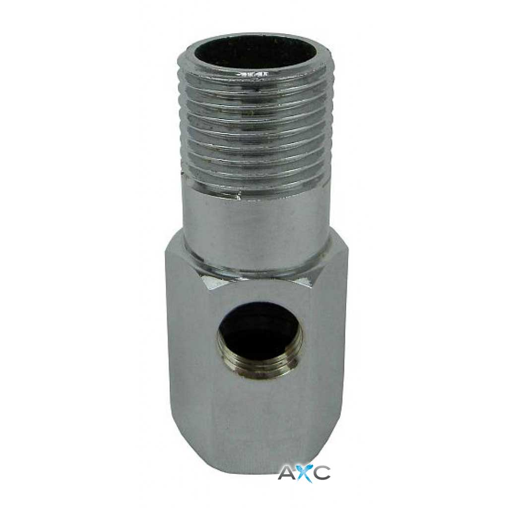 "Straight Nickel Pladed Brass Hose Connector 1/2"" M  F"