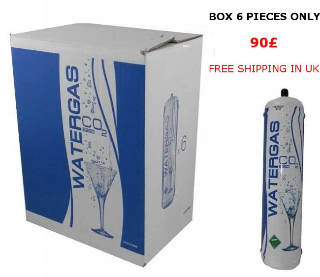Box 6 pieces Co2 disposable bottle 600 gr Watergas